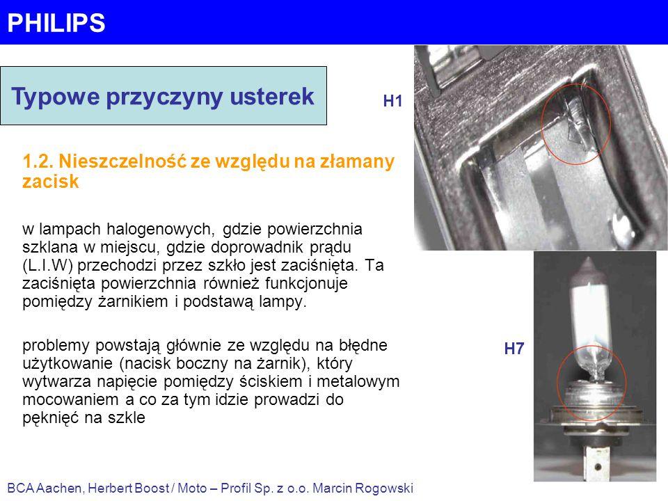 PHILIPS 1.2. Nieszczelność ze względu na złamany zacisk w lampach halogenowych, gdzie powierzchnia szklana w miejscu, gdzie doprowadnik prądu (L.I.W)