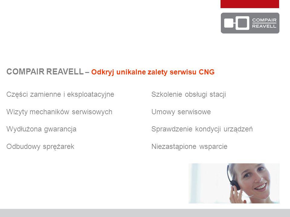 COMPAIR REAVELL – Odkryj unikalne zalety serwisu CNG Części zamienne i eksploatacyjne Szkolenie obsługi stacji Wizyty mechaników serwisowychUmowy serwisowe Wydłużona gwarancjaSprawdzenie kondycji urządzeń Odbudowy sprężarekNiezastąpione wsparcie