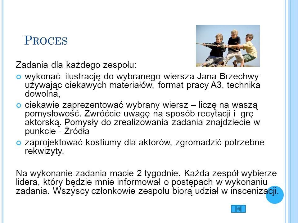 P ROCES Zadania dla każdego zespołu: wykonać ilustrację do wybranego wiersza Jana Brzechwy używając ciekawych materiałów, format pracy A3, technika dowolna, ciekawie zaprezentować wybrany wiersz – liczę na waszą pomysłowość.