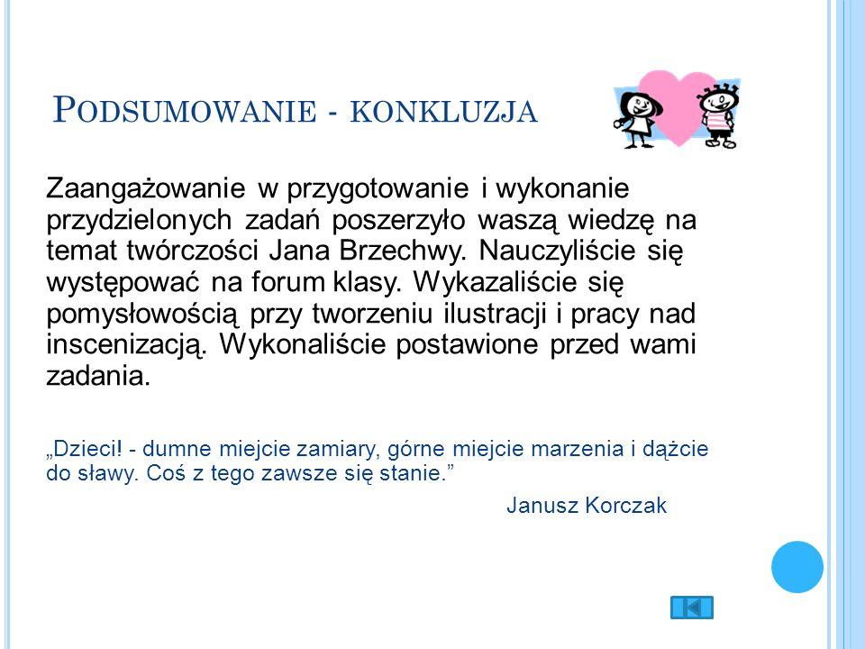 P ODSUMOWANIE - KONKLUZJA Zaangażowanie w przygotowanie i wykonanie przydzielonych zadań poszerzyło waszą wiedzę na temat twórczości Jana Brzechwy. Na