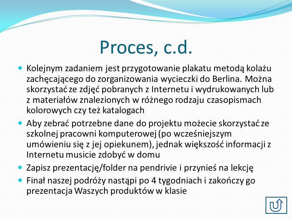 Proces, c.d. Kolejnym zadaniem jest przygotowanie plakatu metodą kolażu zachęcającego do zorganizowania wycieczki do Berlina. Można skorzystać ze zdję