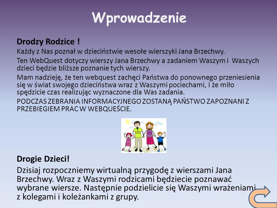 Wprowadzenie Drodzy Rodzice ! Każdy z Nas poznał w dzieciństwie wesołe wierszyki Jana Brzechwy. Ten WebQuest dotyczy wierszy Jana Brzechwy a zadaniem
