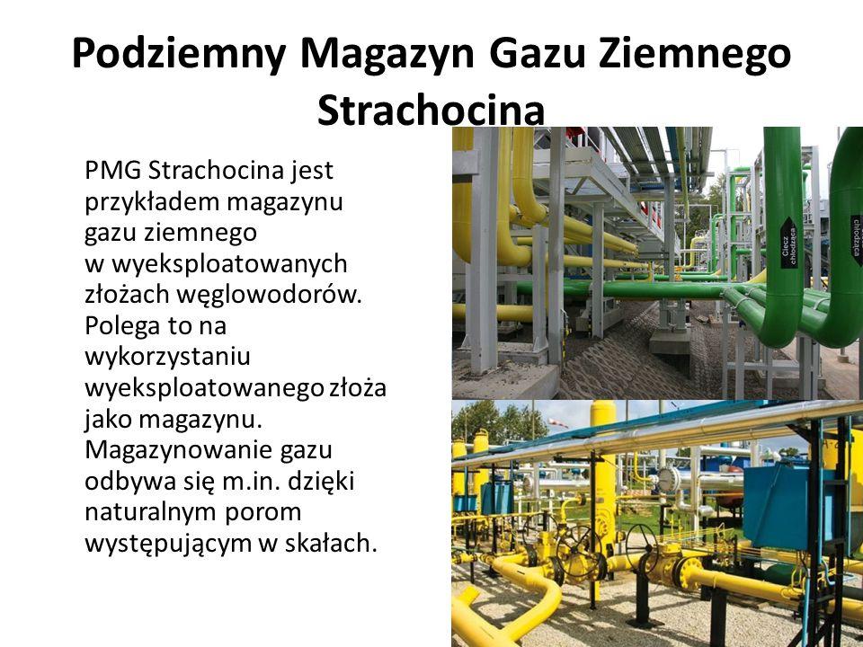 Podziemny Magazyn Gazu Ziemnego Strachocina PMG Strachocina jest przykładem magazynu gazu ziemnego w wyeksploatowanych złożach węglowodorów. Polega to