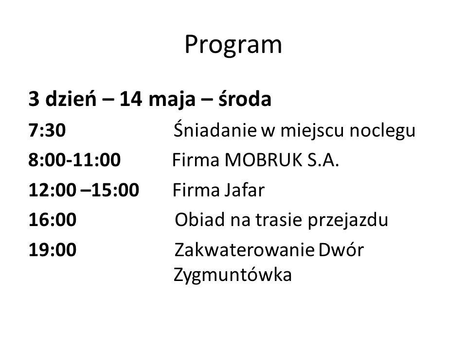 Program 3 dzień – 14 maja – środa 7:30 Śniadanie w miejscu noclegu 8:00-11:00 Firma MOBRUK S.A. 12:00 –15:00 Firma Jafar 16:00 Obiad na trasie przejaz