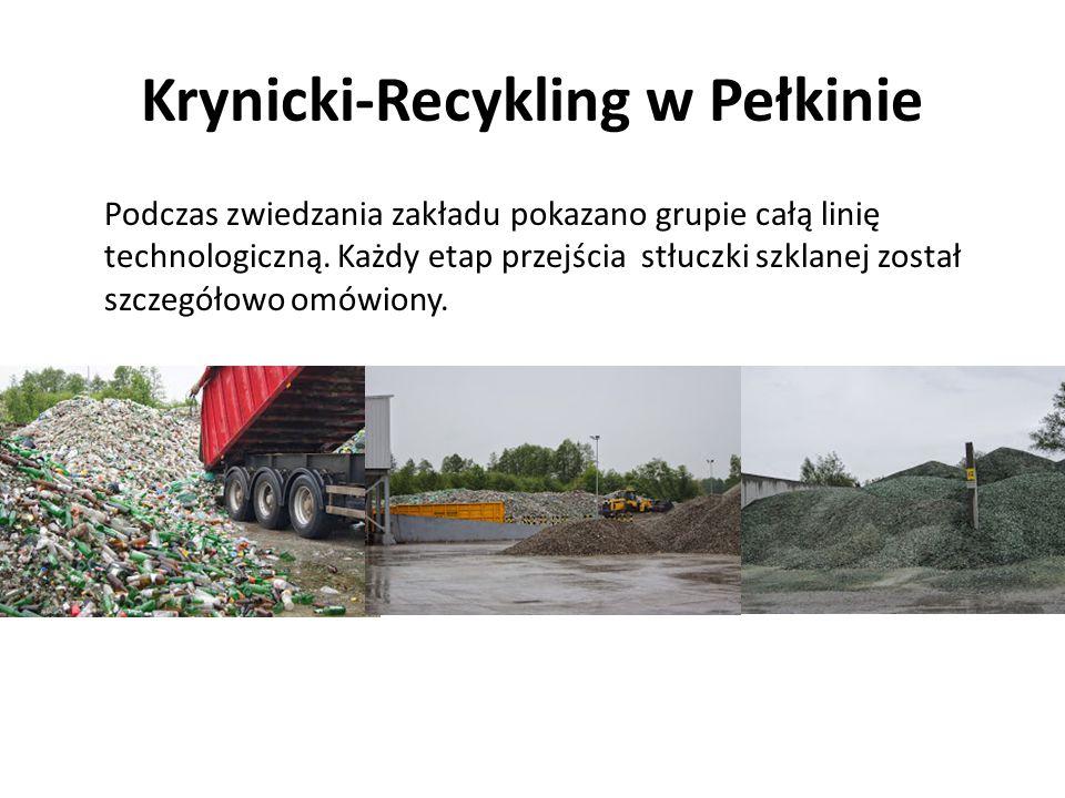 Krynicki-Recykling w Pełkinie Podczas zwiedzania zakładu pokazano grupie całą linię technologiczną. Każdy etap przejścia stłuczki szklanej został szcz