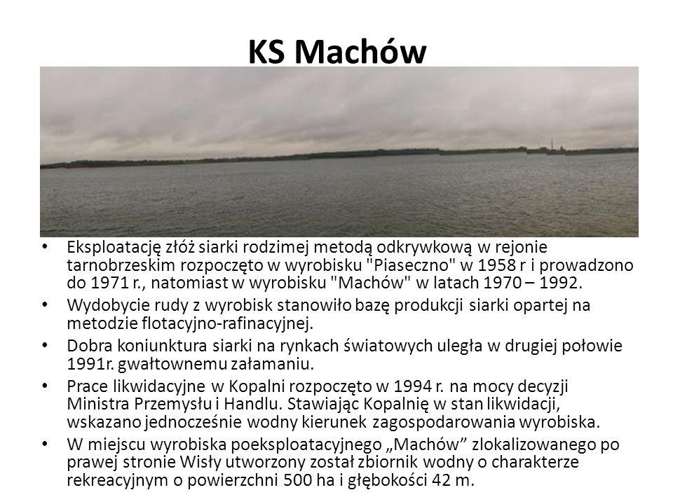 KS Machów Eksploatację złóż siarki rodzimej metodą odkrywkową w rejonie tarnobrzeskim rozpoczęto w wyrobisku