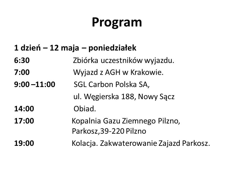 Program 1 dzień – 12 maja – poniedziałek 6:30 Zbiórka uczestników wyjazdu. 7:00 Wyjazd z AGH w Krakowie. 9:00 –11:00 SGL Carbon Polska SA, ul. Węgiers
