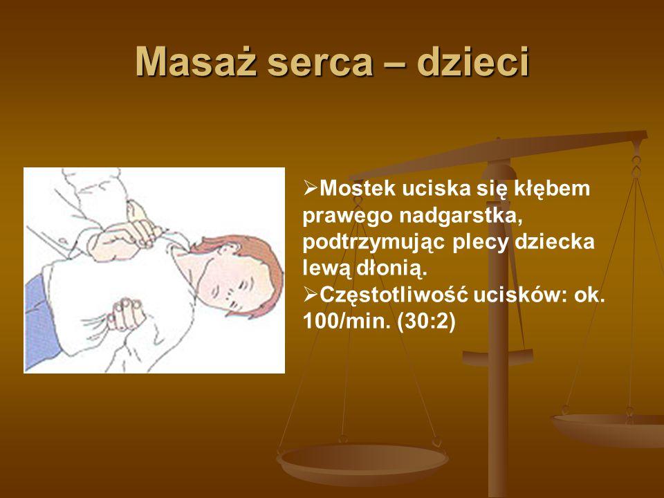 Reanimacja przez dwie osoby  Jeden ratownik wykonuje masaż serca  Drugi ratownik wykonuje wentylację poszkodowanego (30:2)