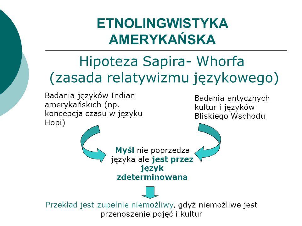 ETNOLINGWISTYKA AMERYKAŃSKA Myśl nie poprzedza języka ale jest przez język zdeterminowana Badania języków Indian amerykańskich (np. koncepcja czasu w