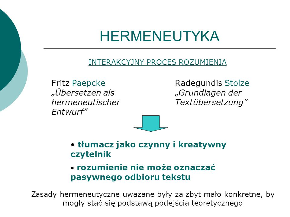 """HERMENEUTYKA Fritz Paepcke """"Übersetzen als hermeneutischer Entwurf"""" Radegundis Stolze """"Grundlagen der Textübersetzung"""" INTERAKCYJNY PROCES ROZUMIENIA"""