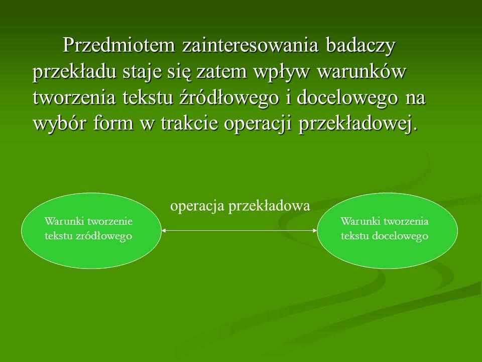 Przedmiotem zainteresowania badaczy przekładu staje się zatem wpływ warunków tworzenia tekstu źródłowego i docelowego na wybór form w trakcie operacji