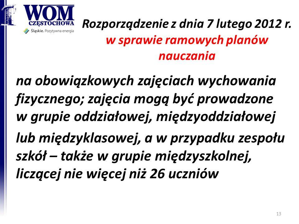 Rozporządzenie z dnia 7 lutego 2012 r. w sprawie ramowych planów nauczania na obowiązkowych zajęciach wychowania fizycznego; zajęcia mogą być prowadzo