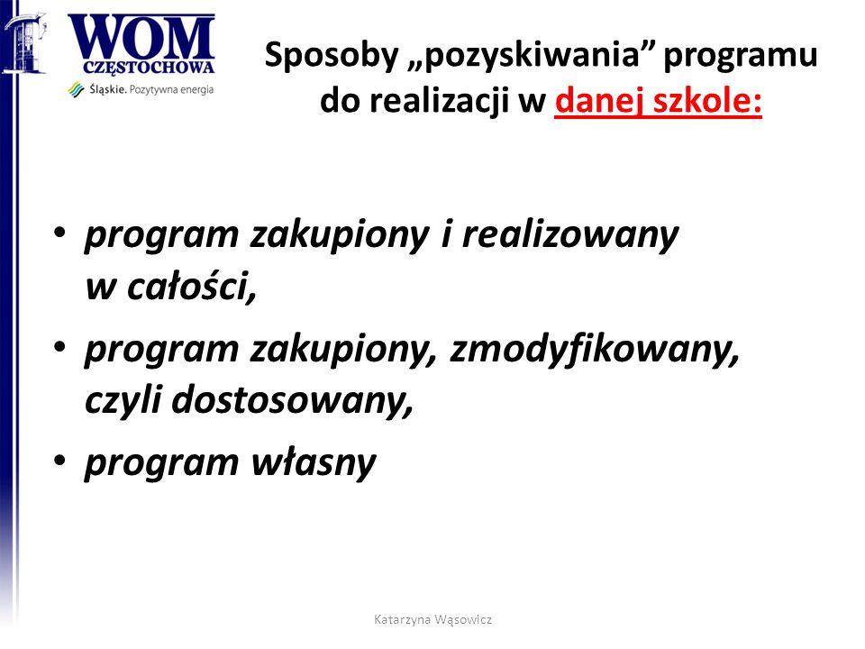 """Sposoby """"pozyskiwania programu do realizacji w danej szkole: program zakupiony i realizowany w całości, program zakupiony, zmodyfikowany, czyli dostosowany, program własny Katarzyna Wąsowicz"""