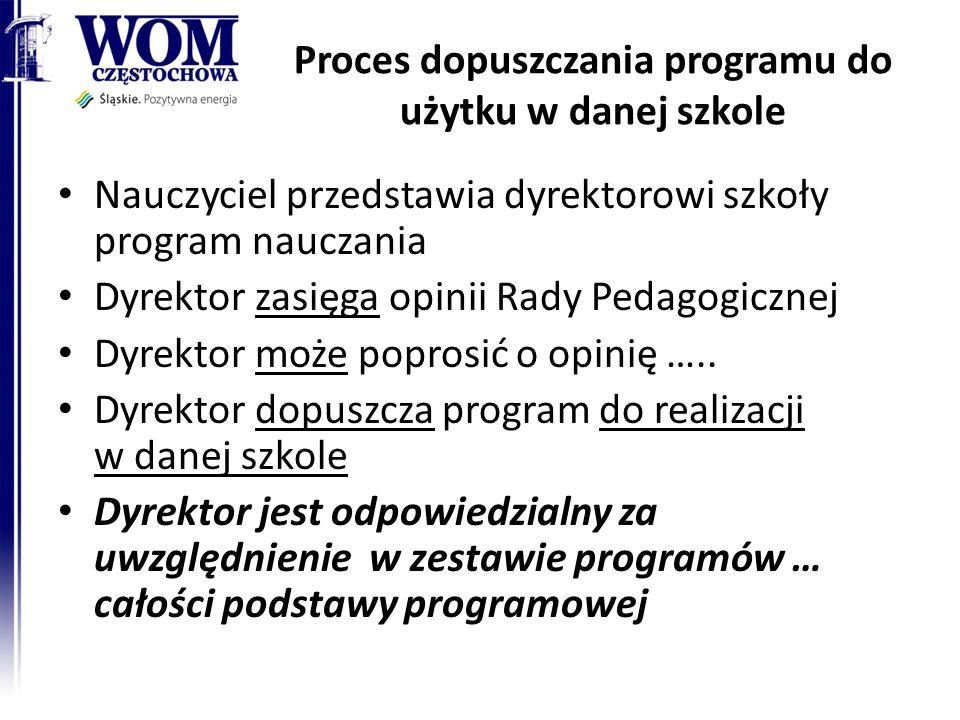 Proces dopuszczania programu do użytku w danej szkole Nauczyciel przedstawia dyrektorowi szkoły program nauczania Dyrektor zasięga opinii Rady Pedagogicznej Dyrektor może poprosić o opinię …..