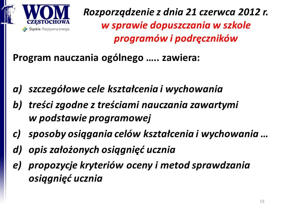 Rozporządzenie z dnia 21 czerwca 2012 r. w sprawie dopuszczania w szkole programów i podręczników Program nauczania ogólnego ….. zawiera: a)szczegółow
