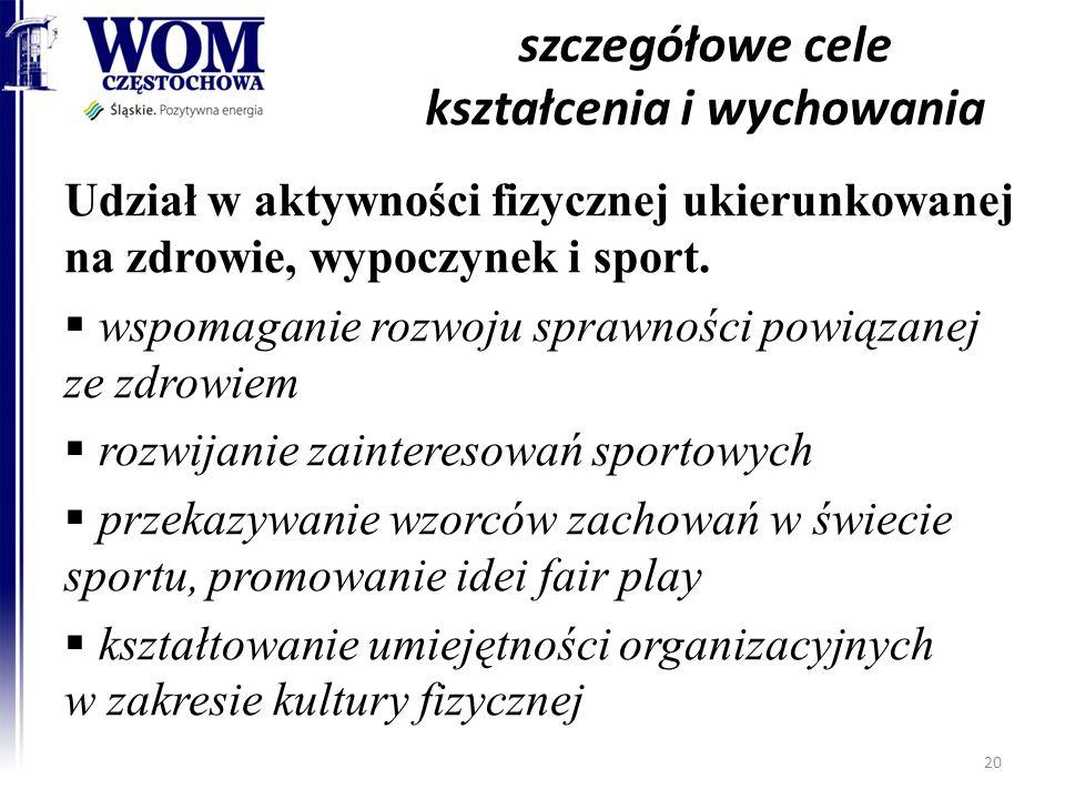szczegółowe cele kształcenia i wychowania Udział w aktywności fizycznej ukierunkowanej na zdrowie, wypoczynek i sport.