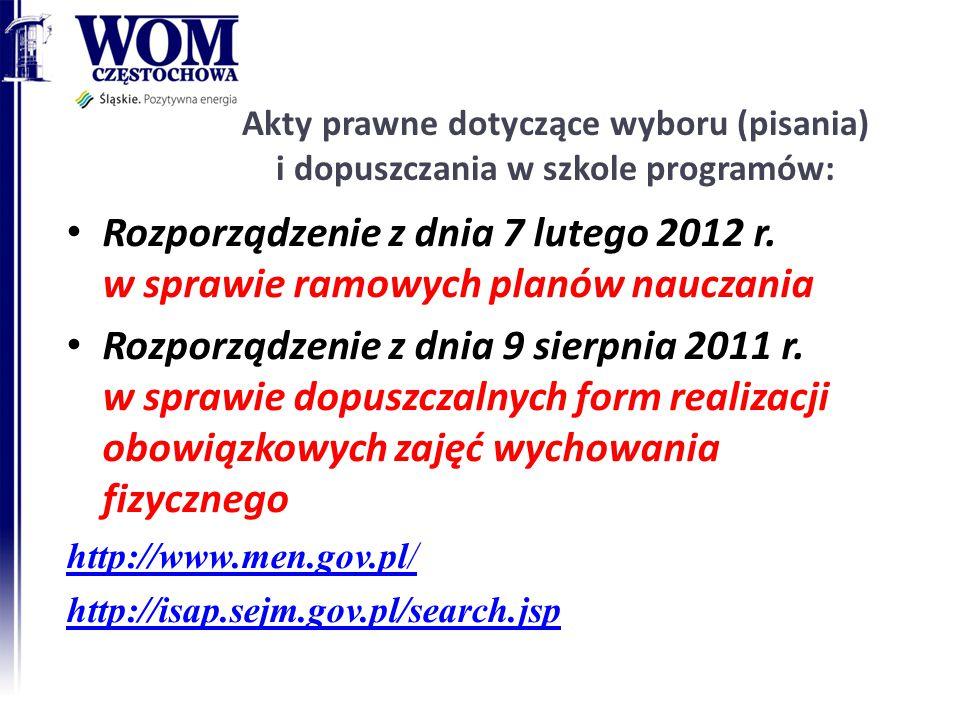Akty prawne dotyczące wyboru (pisania) i dopuszczania w szkole programów: Rozporządzenie z dnia 7 lutego 2012 r. w sprawie ramowych planów nauczania R
