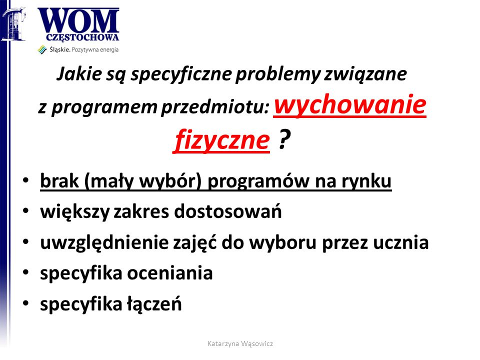 Jakie są specyficzne problemy związane z programem przedmiotu: wychowanie fizyczne ? brak (mały wybór) programów na rynku większy zakres dostosowań uw