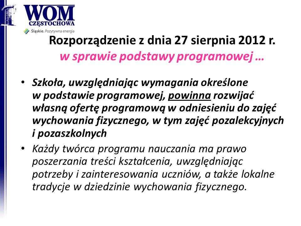 Rozporządzenie z dnia 27 sierpnia 2012 r. w sprawie podstawy programowej … Szkoła, uwzględniając wymagania określone w podstawie programowej, powinna
