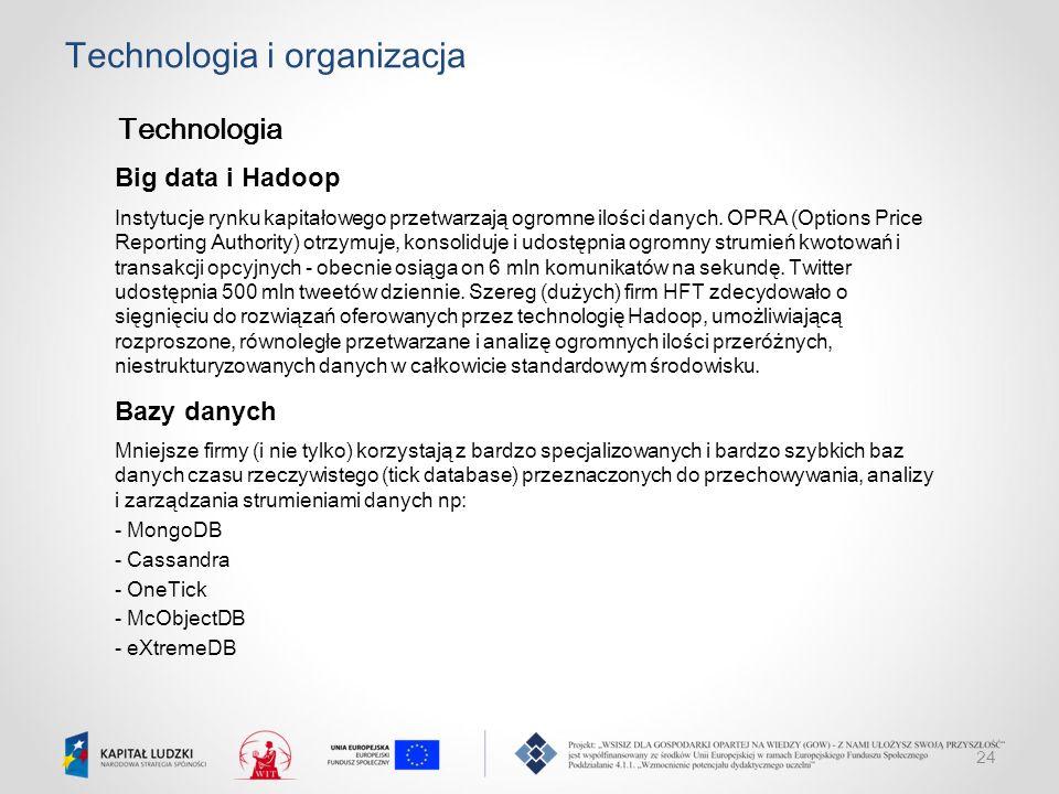 24 Technologia i organizacja Technologia Big data i Hadoop Instytucje rynku kapitałowego przetwarzają ogromne ilości danych. OPRA (Options Price Repor