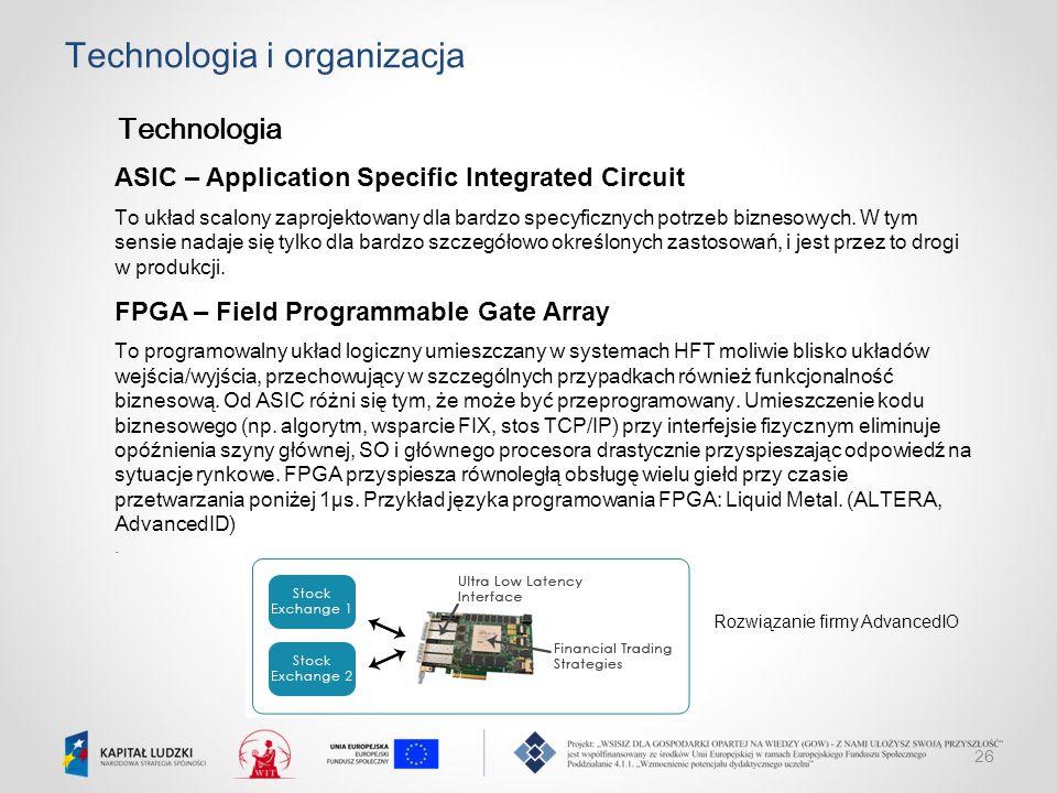 26 Technologia i organizacja Technologia ASIC – Application Specific Integrated Circuit To układ scalony zaprojektowany dla bardzo specyficznych potrz