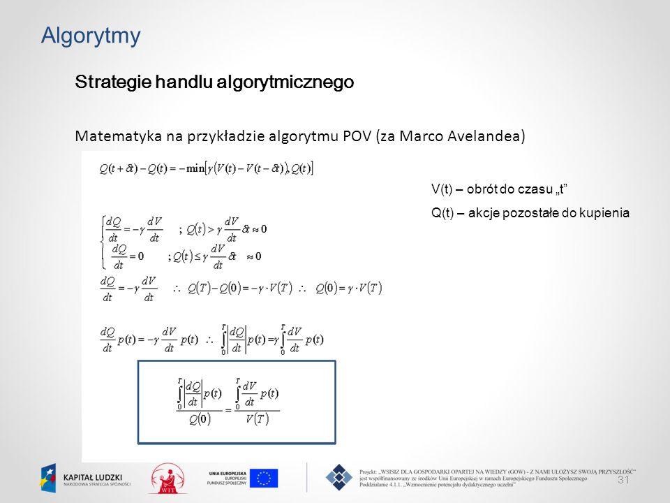 """31 Algorytmy Strategie handlu algorytmicznego Matematyka na przykładzie algorytmu POV (za Marco Avelandea) V(t) – obrót do czasu """"t"""" Q(t) – akcje pozo"""