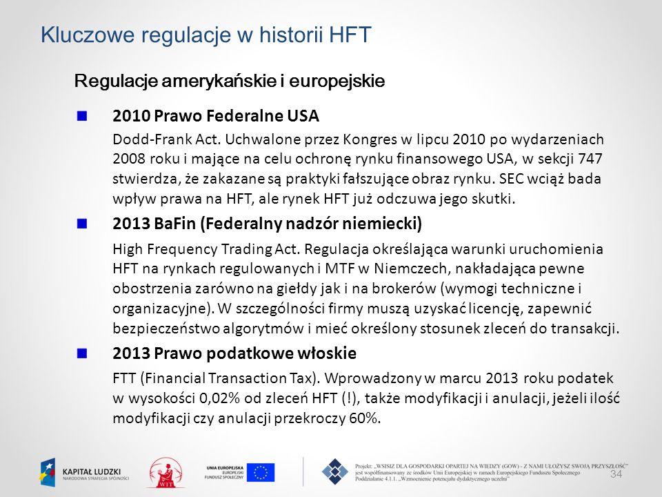 34 Kluczowe regulacje w historii HFT Regulacje amerykańskie i europejskie 2010 Prawo Federalne USA Dodd-Frank Act. Uchwalone przez Kongres w lipcu 201