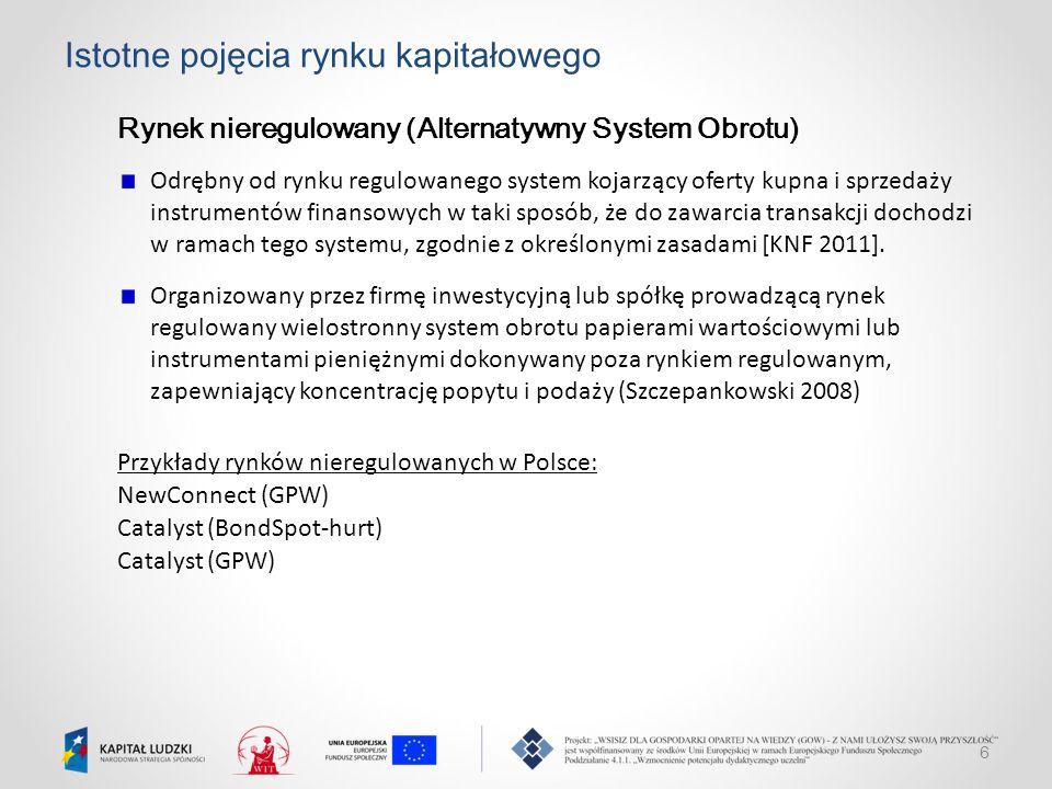 6 Istotne pojęcia rynku kapitałowego Rynek nieregulowany (Alternatywny System Obrotu) Odrębny od rynku regulowanego system kojarzący oferty kupna i sp