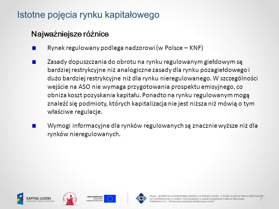 7 Istotne pojęcia rynku kapitałowego Najważniejsze różnice Rynek regulowany podlega nadzorowi (w Polsce – KNF) Zasady dopuszczania do obrotu na rynku
