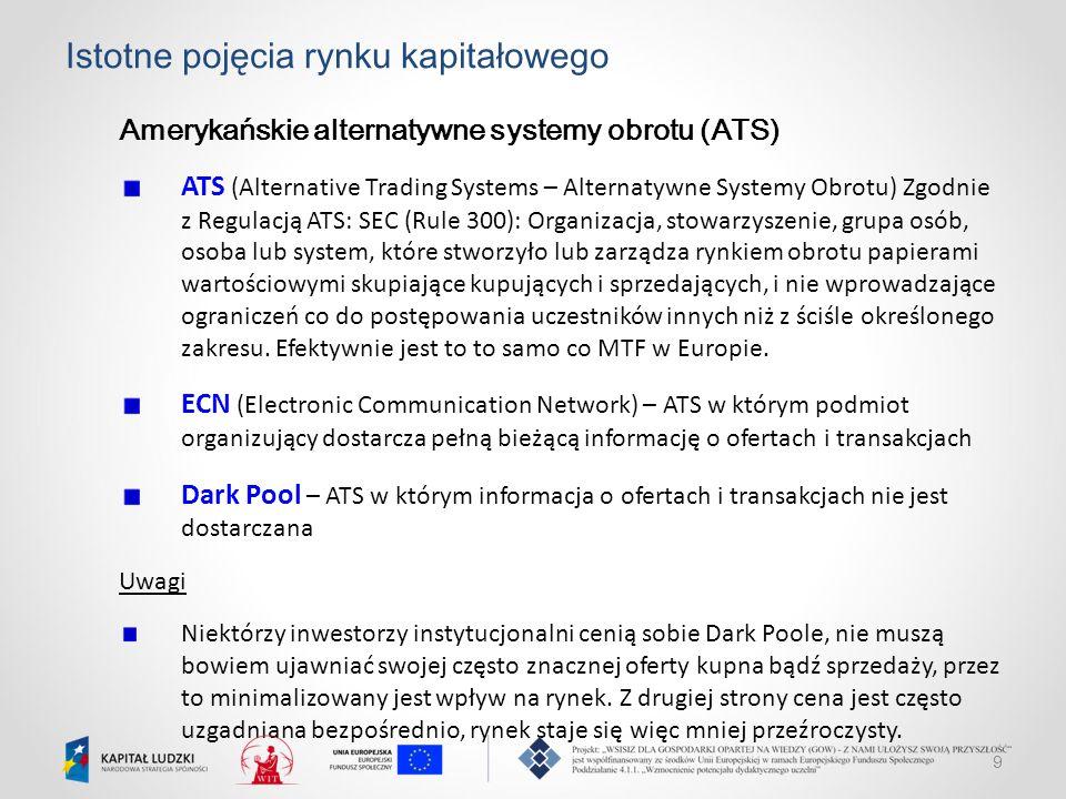 9 Istotne pojęcia rynku kapitałowego Amerykańskie alternatywne systemy obrotu (ATS) ATS (Alternative Trading Systems – Alternatywne Systemy Obrotu) Zg