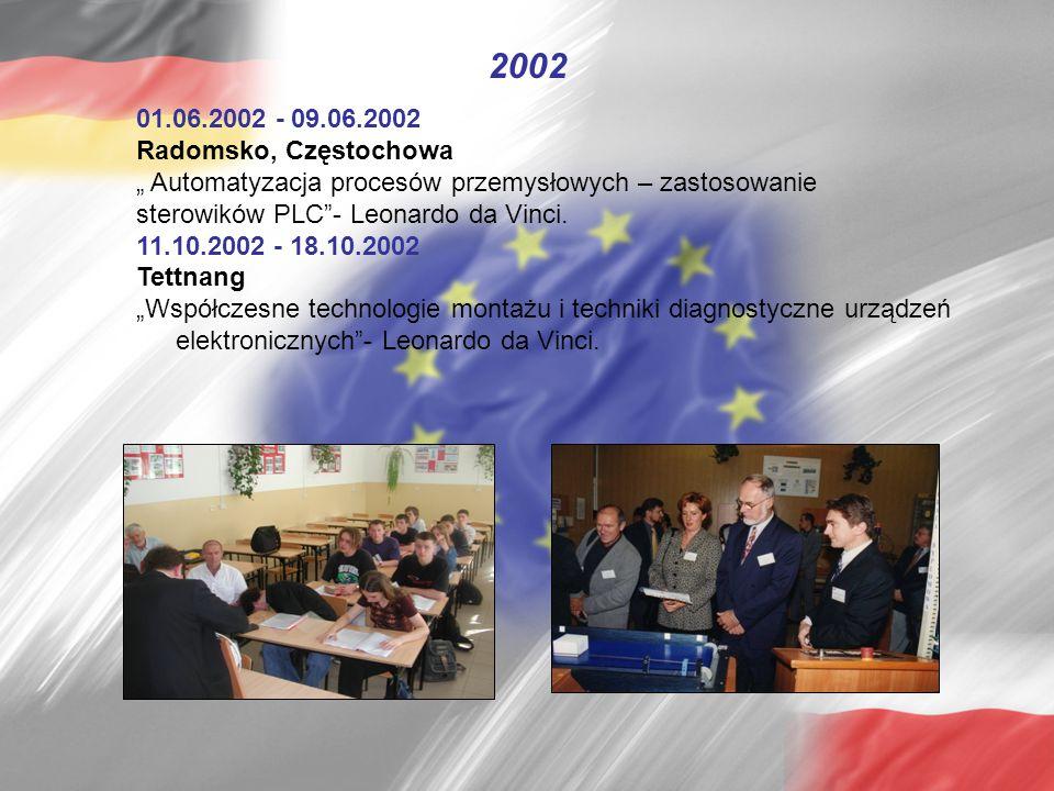 """01.06.2002 - 09.06.2002 Radomsko, Częstochowa """" Automatyzacja procesów przemysłowych – zastosowanie sterowików PLC - Leonardo da Vinci."""