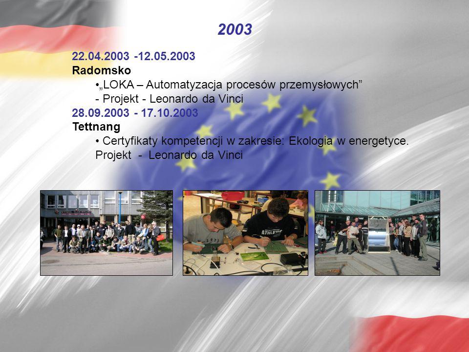 """22.04.2003 -12.05.2003 Radomsko """"LOKA – Automatyzacja procesów przemysłowych"""" - Projekt - Leonardo da Vinci 28.09.2003 - 17.10.2003 Tettnang Certyfika"""