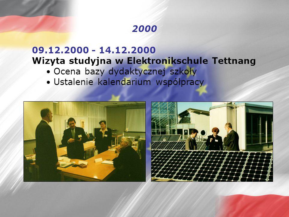 2000 09.12.2000 - 14.12.2000 Wizyta studyjna w Elektronikschule Tettnang  Ocena bazy dydaktycznej szkoły  Ustalenie kalendarium współpracy