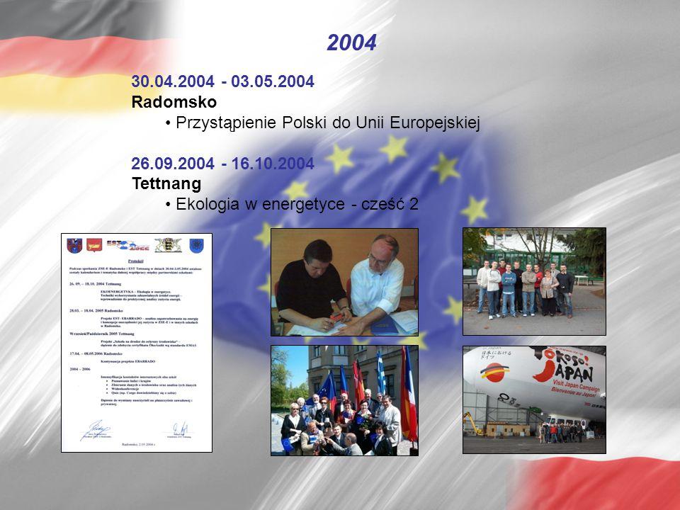 30.04.2004 - 03.05.2004 Radomsko Przystąpienie Polski do Unii Europejskiej 26.09.2004 - 16.10.2004 Tettnang Ekologia w energetyce - cześć 2 2004
