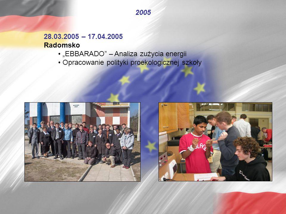 """28.03.2005 – 17.04.2005 Radomsko """"EBBARADO"""" – Analiza zużycia energii Opracowanie polityki proekologicznej szkoły 2005"""