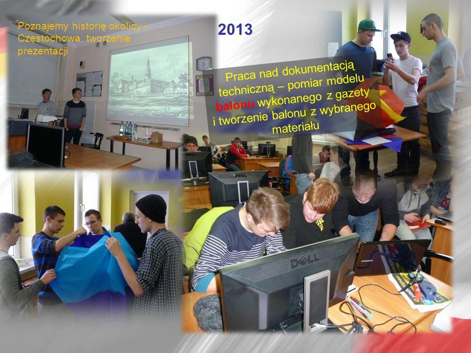 2013 Poznajemy historię okolicy – Częstochowa, tworzenie prezentacji Praca nad dokumentacją techniczną – pomiar modelu balonu wykonanego z gazety i tworzenie balonu z wybranego materiału