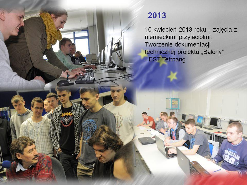 """2013 10 kwiecień 2013 roku – zajęcia z niemieckimi przyjaciółmi. Tworzenie dokumentacji technicznej projektu """"Balony"""" - EST Tettnang"""