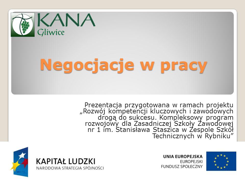 """Negocjacje w pracy Prezentacja przygotowana w ramach projektu """"Rozwój kompetencji kluczowych i zawodowych drogą do sukcesu."""