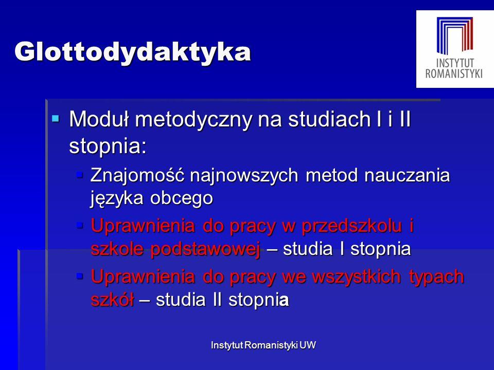 Instytut Romanistyki UW Glottodydaktyka Glottodydaktyka  Moduł metodyczny na studiach I i II stopnia:  Znajomość najnowszych metod nauczania języka
