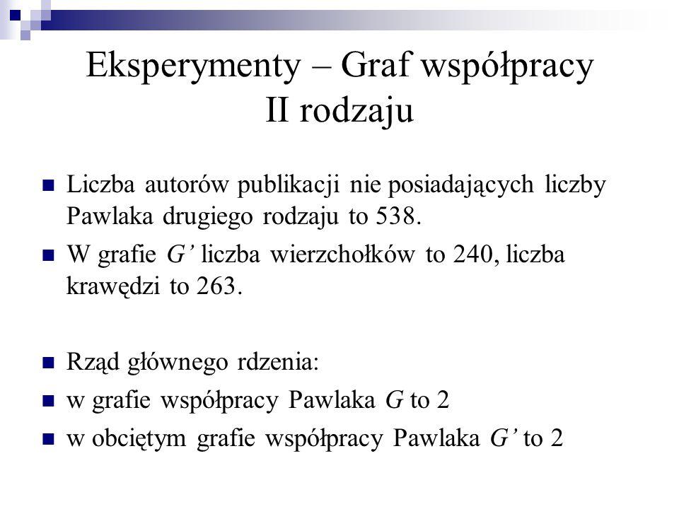 Eksperymenty – Graf współpracy II rodzaju n p.= 1 n P  {0, 1} n p.