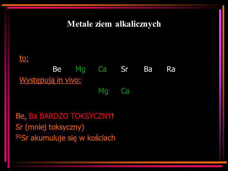 Metale ziem alkalicznych to: Be MgCaSrBaRa Występują in vivo: MgCa Be, Ba BARDZO TOKSYCZNY! Sr (mniej toksyczny) 90 Sr akumuluje się w kościach