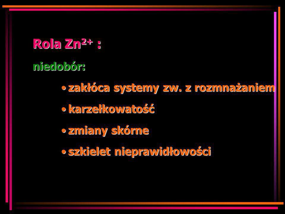 Rola Zn2+ : niedobór: zakłóca systemy zw. z rozmnażaniem karzełkowatość zmiany skórne szkielet nieprawidłowości