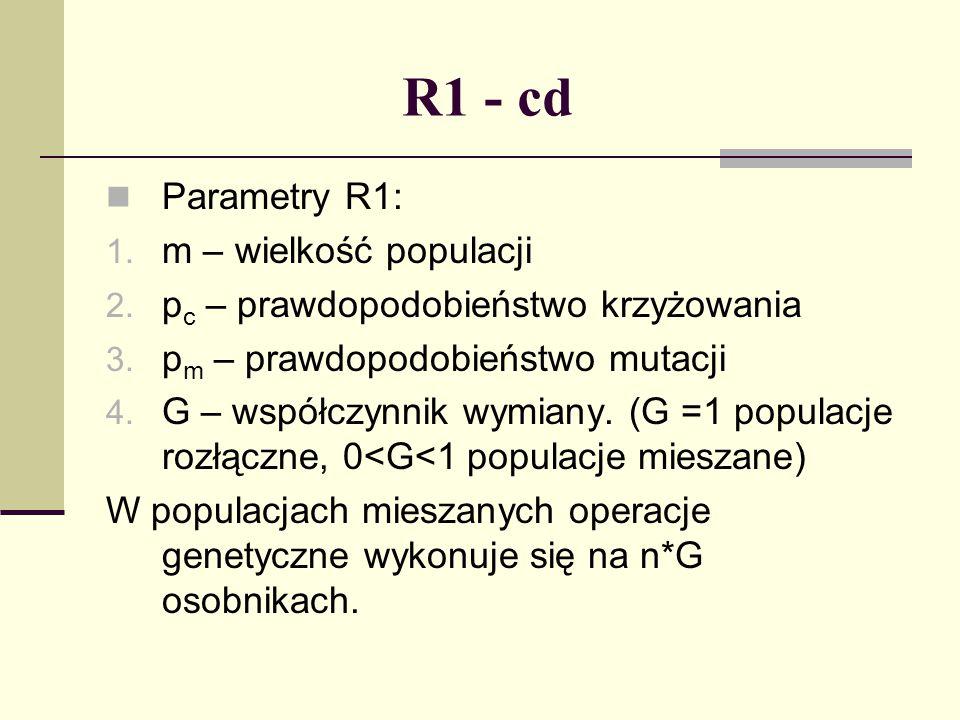 R1 - cd Parametry R1: 1. m – wielkość populacji 2. p c – prawdopodobieństwo krzyżowania 3. p m – prawdopodobieństwo mutacji 4. G – współczynnik wymian