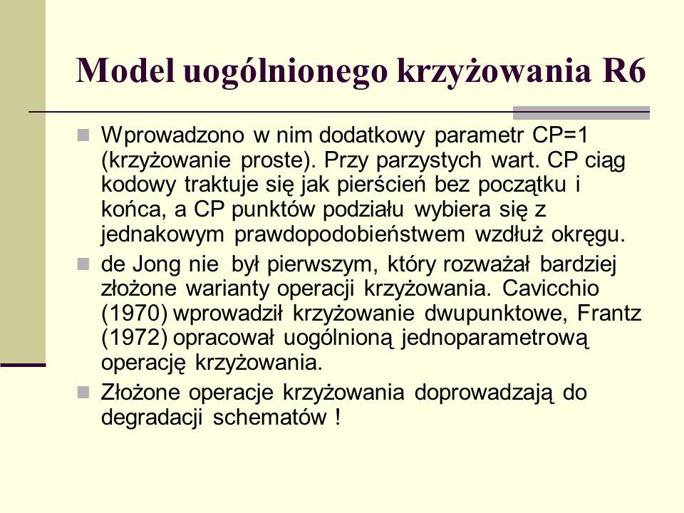 Model uogólnionego krzyżowania R6 Wprowadzono w nim dodatkowy parametr CP=1 (krzyżowanie proste). Przy parzystych wart. CP ciąg kodowy traktuje się ja