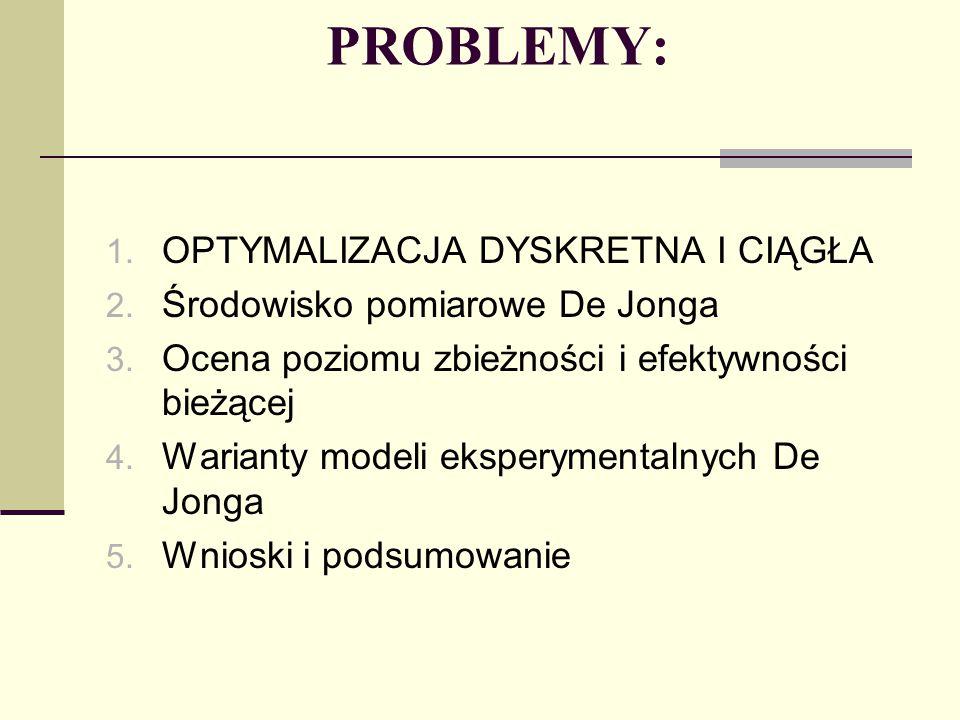PROBLEMY: 1. OPTYMALIZACJA DYSKRETNA I CIĄGŁA 2. Środowisko pomiarowe De Jonga 3. Ocena poziomu zbieżności i efektywności bieżącej 4. Warianty modeli