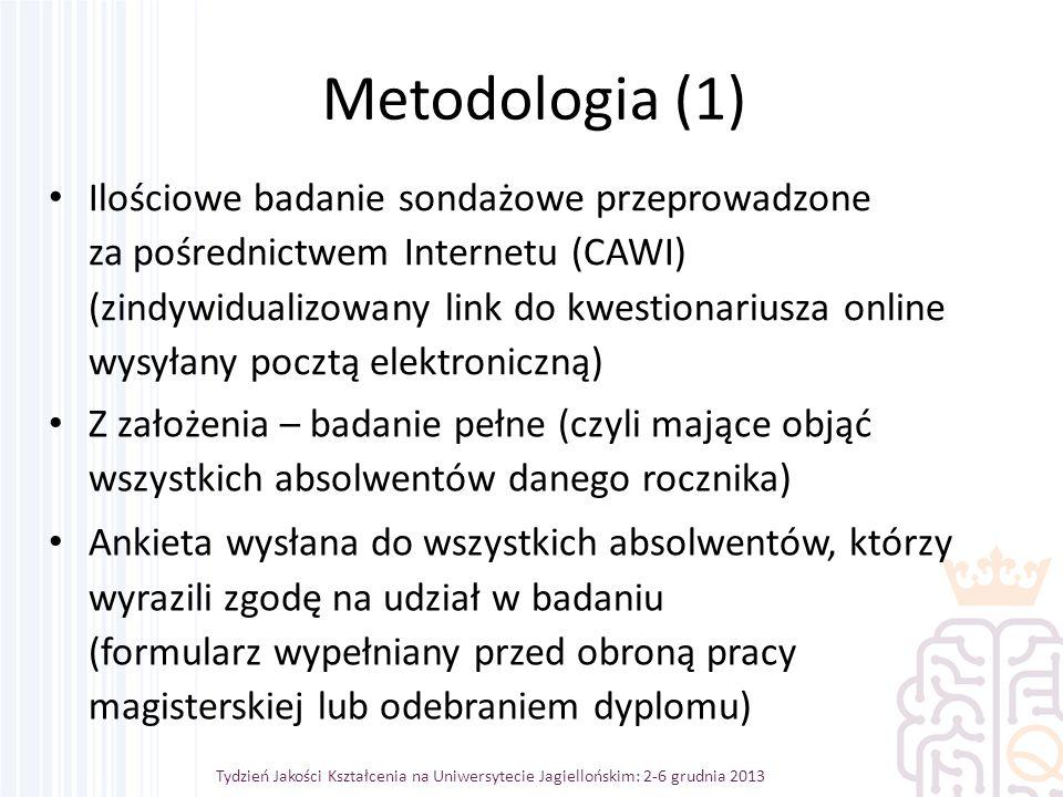 Tydzień Jakości Kształcenia na Uniwersytecie Jagiellońskim: 2-6 grudnia 2013 Metodologia (1) Ilościowe badanie sondażowe przeprowadzone za pośrednictwem Internetu (CAWI) (zindywidualizowany link do kwestionariusza online wysyłany pocztą elektroniczną) Z założenia – badanie pełne (czyli mające objąć wszystkich absolwentów danego rocznika) Ankieta wysłana do wszystkich absolwentów, którzy wyrazili zgodę na udział w badaniu (formularz wypełniany przed obroną pracy magisterskiej lub odebraniem dyplomu)