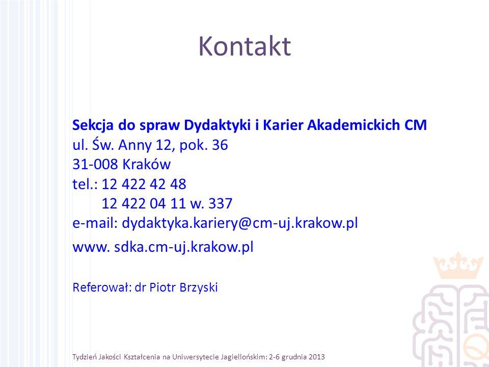 Kontakt Sekcja do spraw Dydaktyki i Karier Akademickich CM ul.