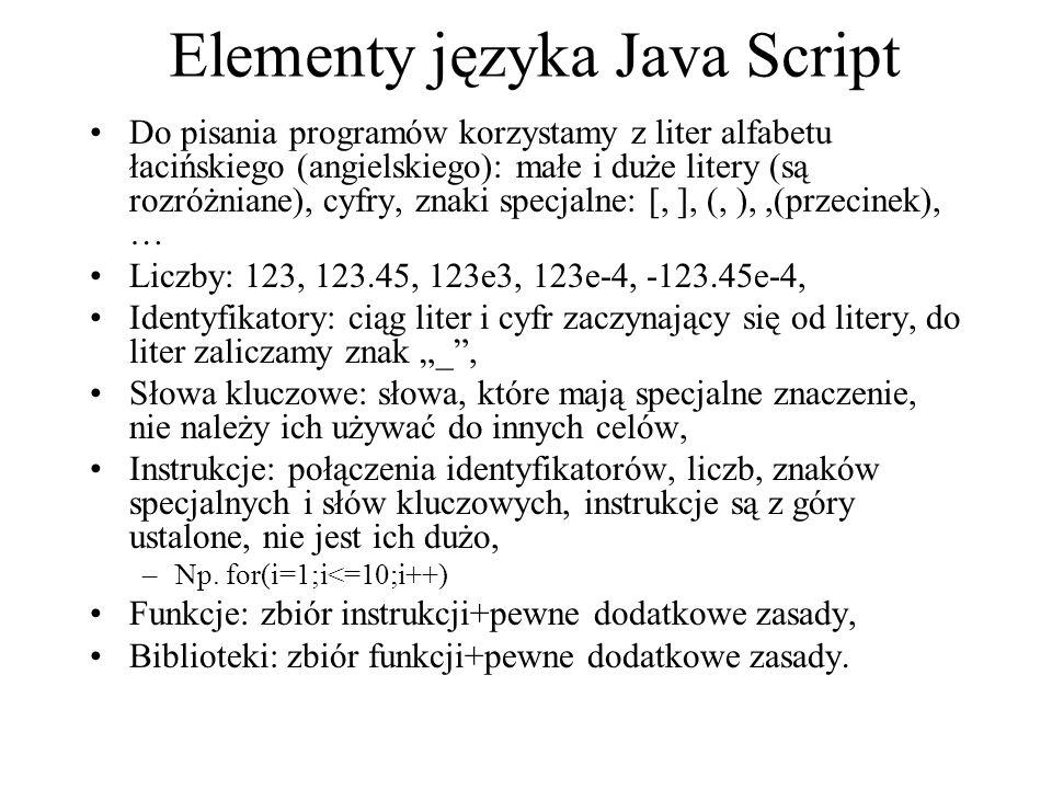 Elementy języka Java Script Do pisania programów korzystamy z liter alfabetu łacińskiego (angielskiego): małe i duże litery (są rozróżniane), cyfry, z