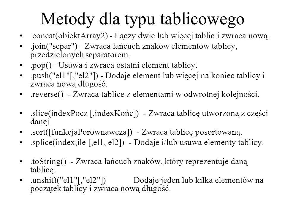 Metody dla typu tablicowego.concat(obiektArray2) - Łączy dwie lub więcej tablic i zwraca nową..join(
