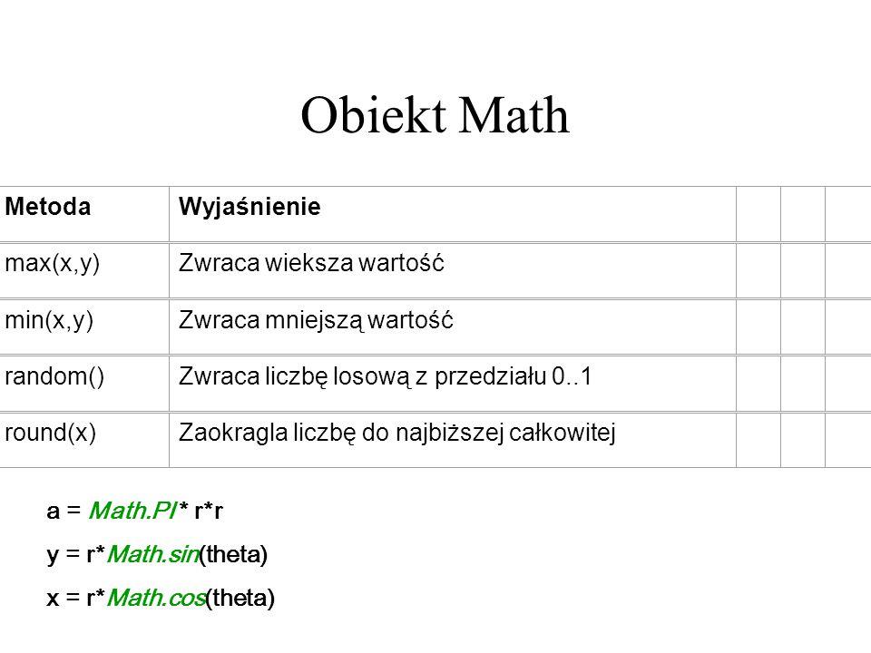 Obiekt Math MetodaWyjaśnienie max(x,y)Zwraca wieksza wartość min(x,y)Zwraca mniejszą wartość random()Zwraca liczbę losową z przedziału 0..1 round(x)Za